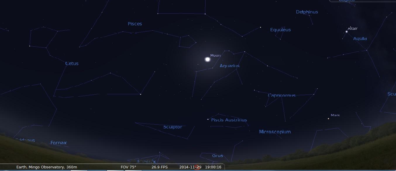 7 PM Moon and Mars above Southern Horizon, Stellarium Simulation