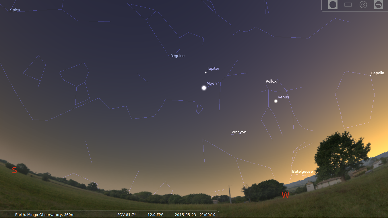 9 PM SW May 23, 2015 Jupiter above the Moon, Venus to the right. Stellarium.org Screen Capture