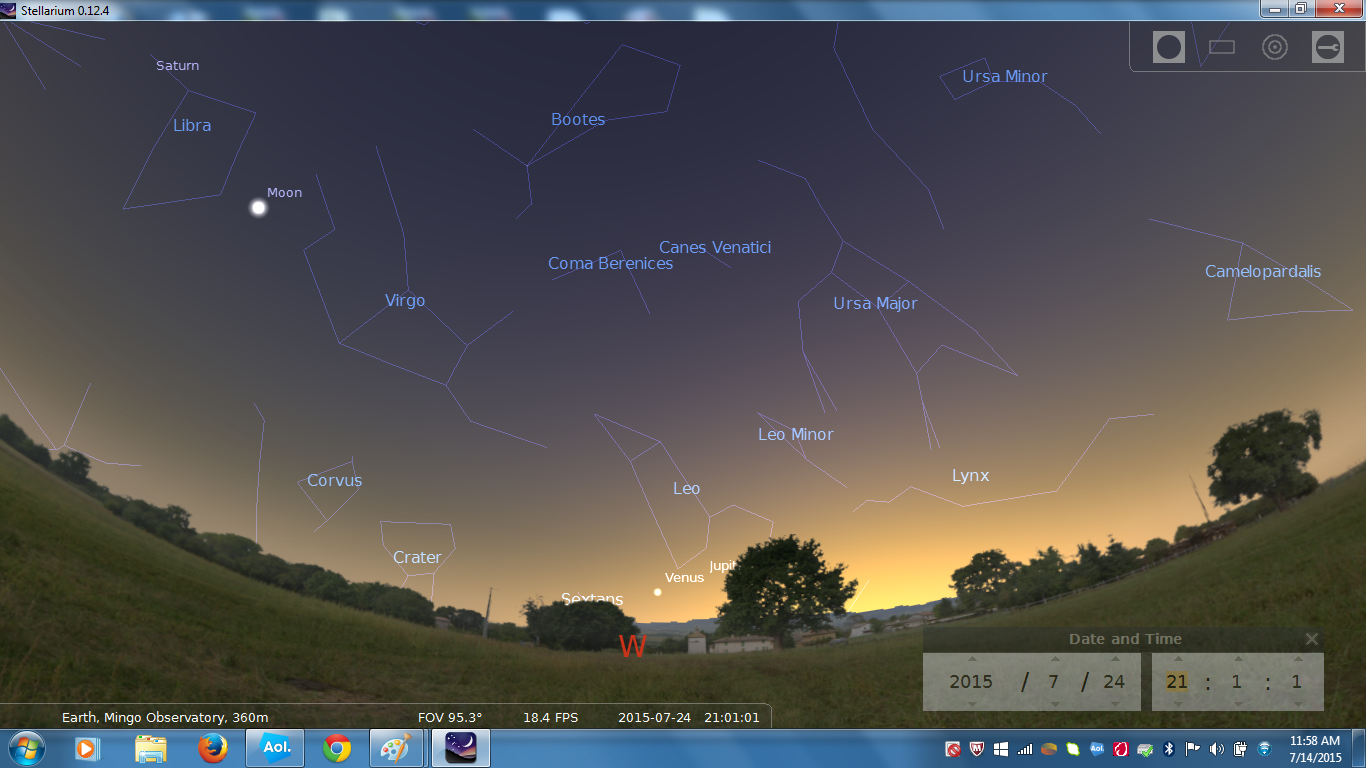 July 24, 2015 9 PM looking west Venus and Jupiter are setting. First Quarter Moon, 8 days old, is in the upper left just below Saturn.