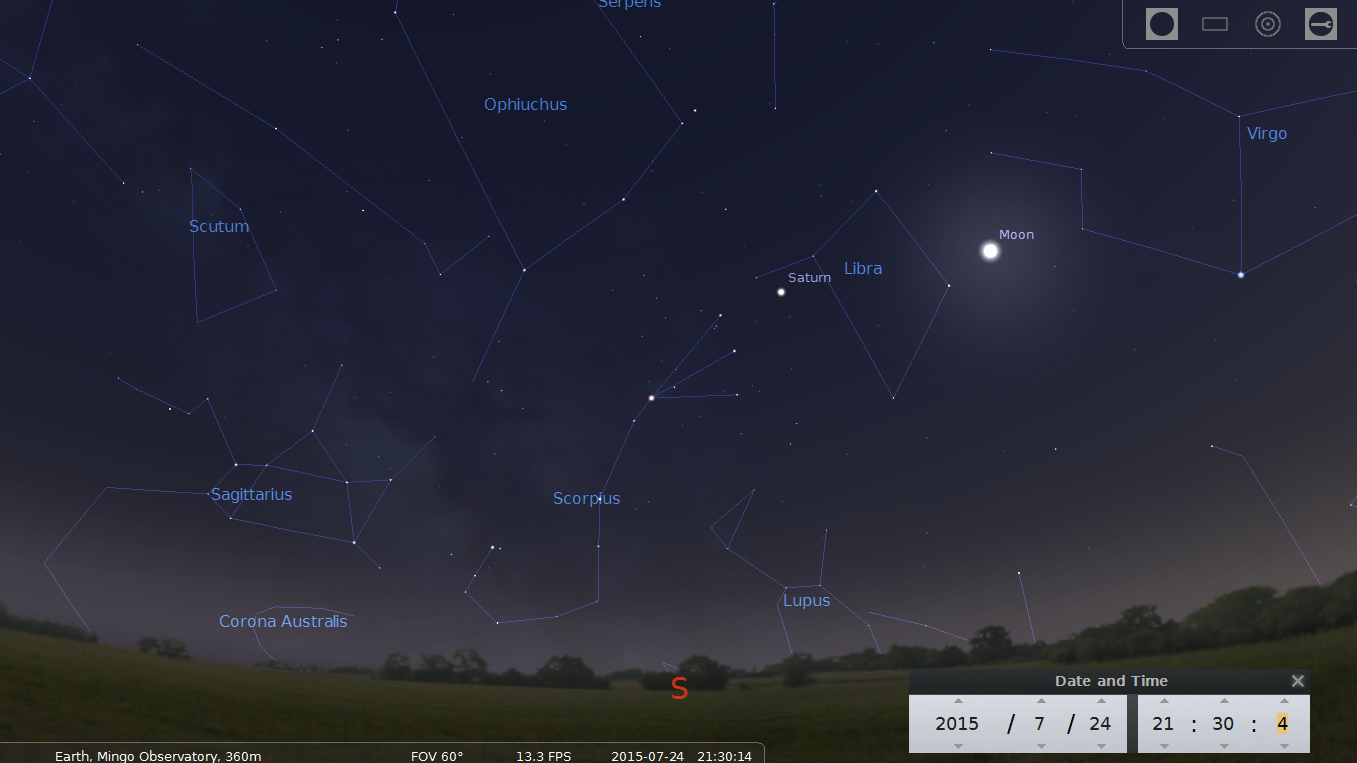 Stellarium Scieen Capture of July 24, 9:30 PM looking south with the moon and Saturn in Libra.
