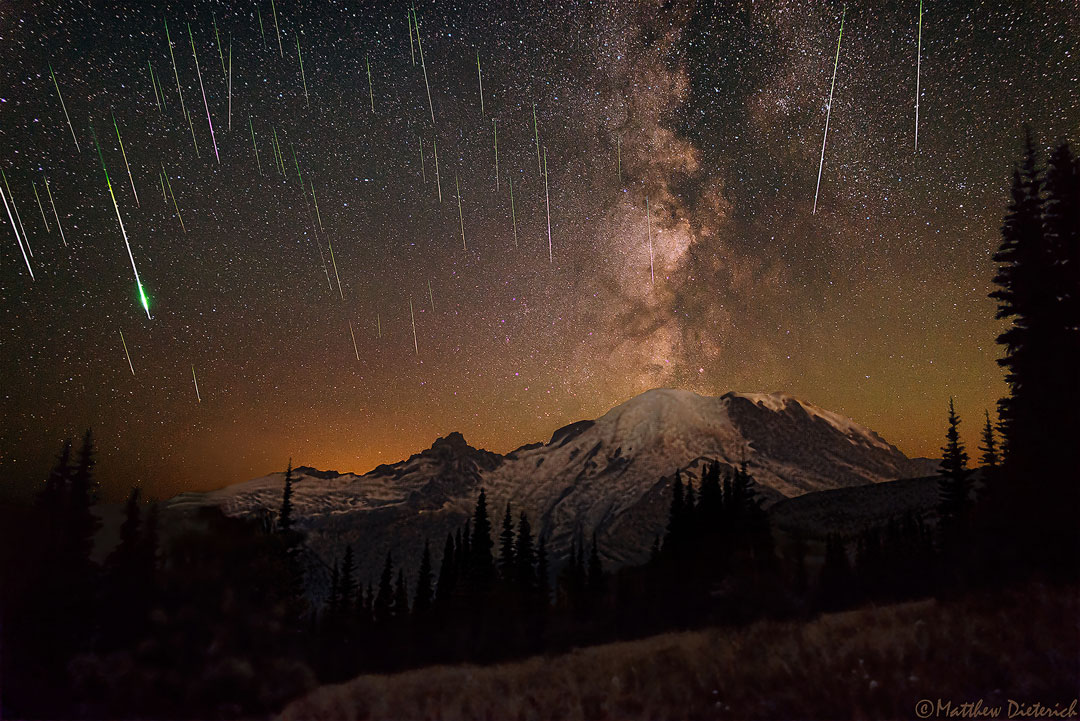 Astronomy Picture of the Day 2015 August 25 Meteors and Milky Way over Mount Rainier Image Credit & Copyright: Matthew Dieterich