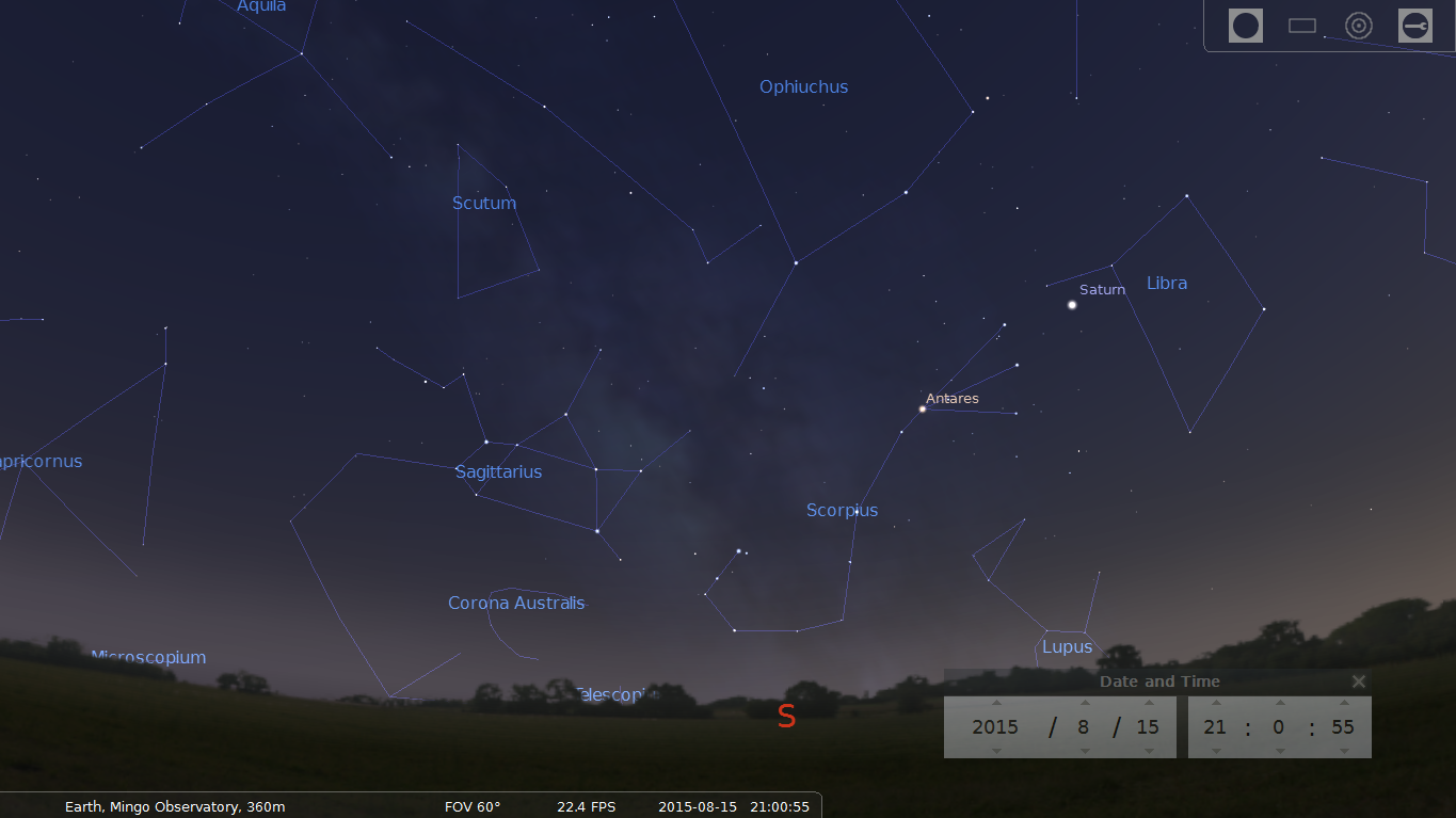 Stellarium Screen Capture: AUgust 15, 2015 Southern Sky.