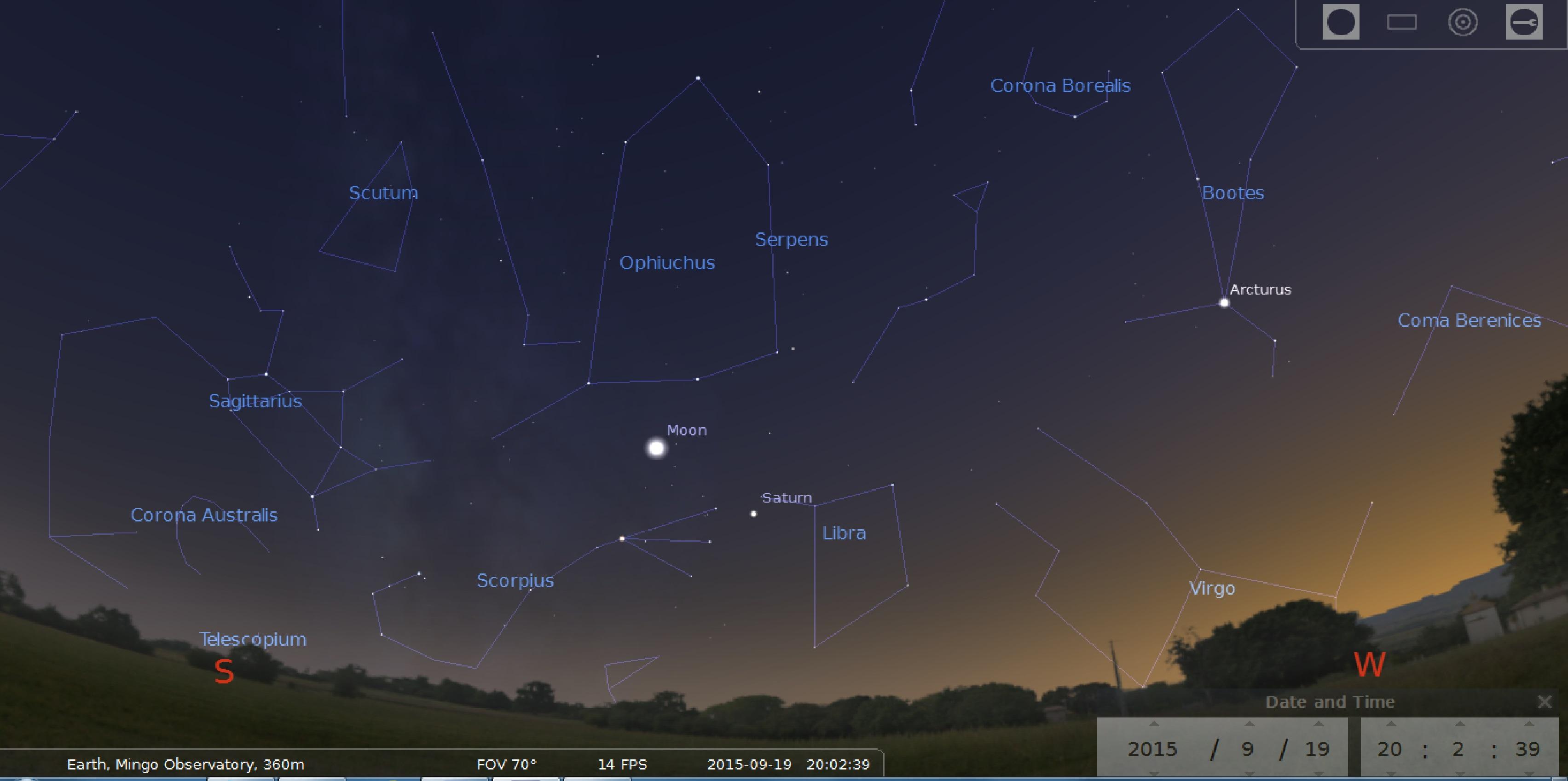 September 19, 2015, 8 PM, Southeast Horizon, Mingo Observatory, Stellarium Screen Capture